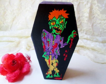 Wood Coffin Box Zombie Graveyard Trinket Jewelry Box Hand Painted Collectible Hinged Lined 3D Painted Halloween Birthday Home Desk Decor