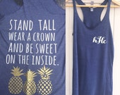 "Initials Monogram Pineapple Tank Top ""Stand Tall, Wear a Crown and be Sweet on the Inside"" in Navy Blue and sparkle"