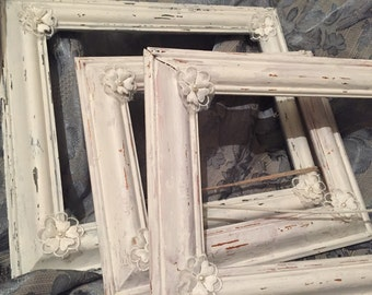 Vintage Reclaimed Hand Painted Antique White Distressed Wooden Picture Frames
