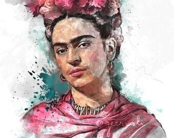 Frida Kahlo Portrait No. - Watercolour illustration - Digital Art - Fine art Print / poster