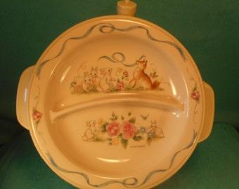 Vintage Pfaltzgraff Selandia Divided Hot Water Heated Baby Dish Fox Rabbits