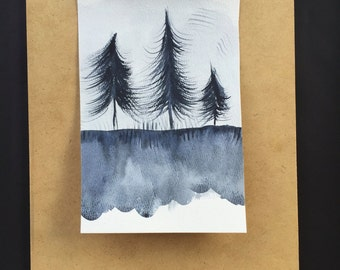 Black & White Watercolor Trees