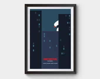 Ghostbusters - A3 movie poster, art, print, minimal poster, marshmallow man, stay puft, minimalist movie poster, who you gonna call, film