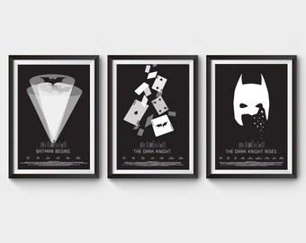 "Batman Trilogy - collection of 3 - A3 (12x16"") movie poster, film poster, print, dark knight, rise, comic, joker, gotham city, minimal"