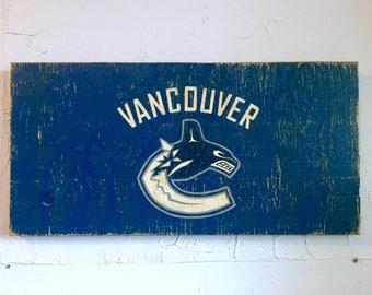 Vancouver Canucks Sign - wooden canucks flag - wood vancouver sign - wood canucks sign - outdoor sign - nhl