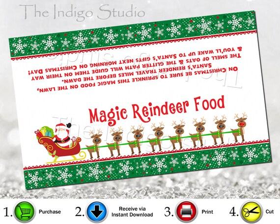 Food bag topper digital printable reindeer food label reindeer food