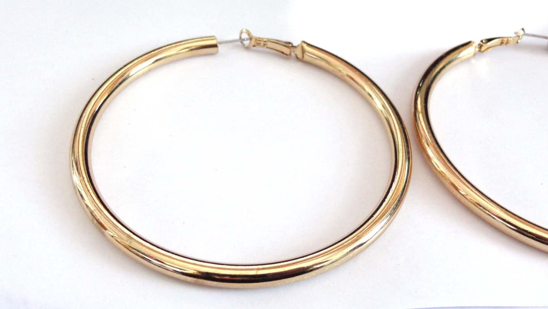 Large Hoop Earrings Thick Gold tone Plated Hoop Earrings 3.5