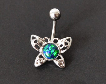 Opal Belly Ring, Belly Button Ring, 316L Stainless Steel, Black Fire Opal Body Jewelry, Belly Jewelry, Butterfly Body Jewelry