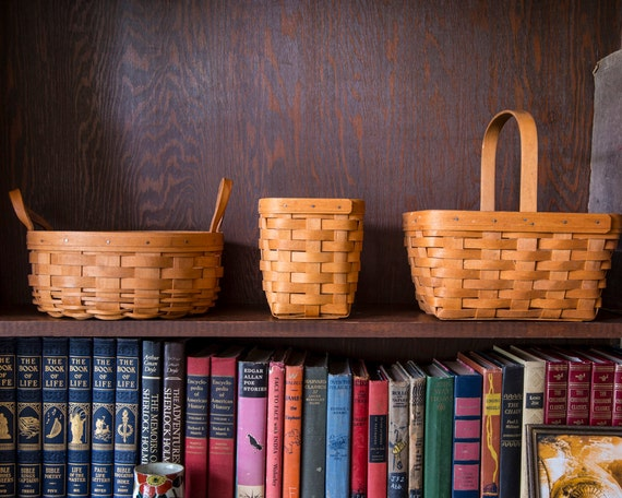 Handmade Peg Baskets : Handcrafted longaberger basket collection maple wood medium