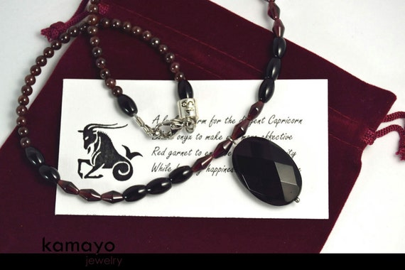 CAPRICORN CHARM NECKLACE - Faceted Black Onyx Pendant and Red Garnet Beads - 18""