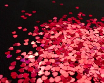 solvent-resistant glitter shapes-red hologram extra-small hearts
