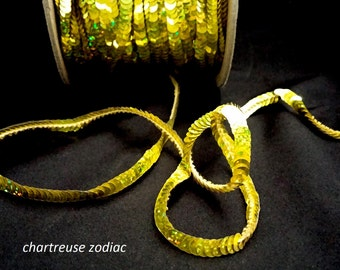 chartreuse zodiac (hologram) sequin trim--non-stretch and stretch