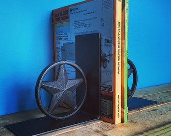 Texas star rustic hand welded bookends castiron office decor steel man cave decor