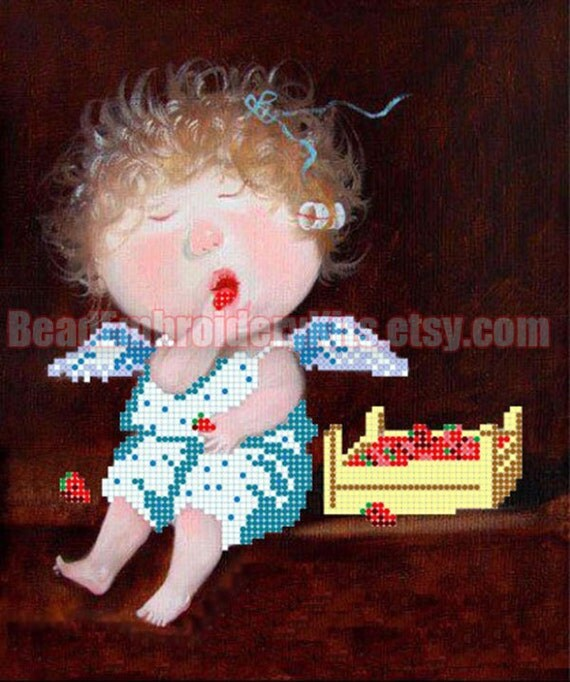 Angel and Strawberries DIY bead embroidery kit, beading on needlepoint set, room wall decor housewarming gift idea