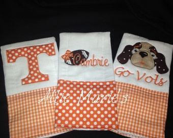 Baby burp cloths, Tennessee burp cloths, baby gift, burp cloths, Custom burp cloths, monogramed burp cloths, Personalized burp cloths, Vols