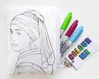 Colour-In The Vermeer Doodle Wallet