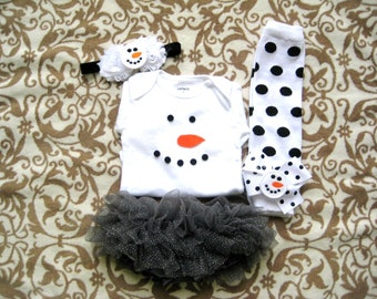 Baby Girls Snowman Christmas outfit,Christmas Outfit girls,Christmas/Winter HOliday Photo shoot,Snowman legwarmers headband,Snowman HOliday