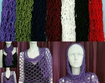 Crochet scarf shawl in one lace wrap goth boho steampunk victorian costume bride bridal wedding hand made