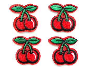 2 pcs - Red Cherry Embroidery Iron On Patches - 33mm - Pinup - Rockabilly - Retro - DIY - Fruit - Applique - Embellishment