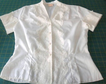 Vintage white blouse with lace detail, 50s, 60s dacron polyester, schoolgirl, prim and proper, 34 small, Jami originals