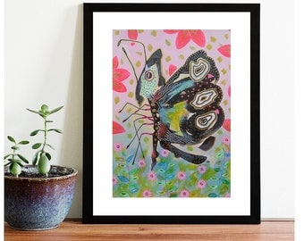 Butterfly Painting Entomology Flying Insect Art Zoology Colorful Butterfly Wings Surreal Pink Decor Art Picture Insects And Bugs Wall Decor