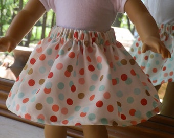 """18"""" Doll Skirts American Made Doll Clothes Fits 18"""" Girl Doll -  Summer Skirt Polka Dots Peachy and Teal"""