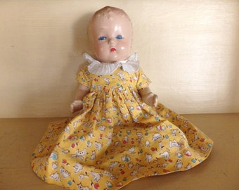 Vintage Nine Inch Baby Doll. Composite Baby Doll.