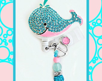 Adorable whale ID reel Badge holder~Gorgeous Ultimate Bling Badge~ Medical Badge Reel (EG46)