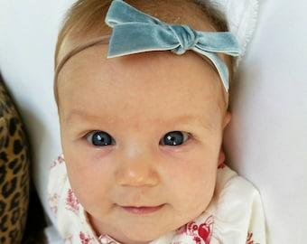 English Garden Velvet Baby Bow Headband set.