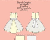 Pale Yellow Taffeta/Sateen Child's Dress with Organza Overlay and Soft White Taffeta Sash Girls Size 3T
