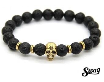 "Stretch bracelet ""swag skull"" with lava rock 8mm"