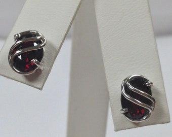 Natural Garnet Stud Earrings 925 Sterling Silver