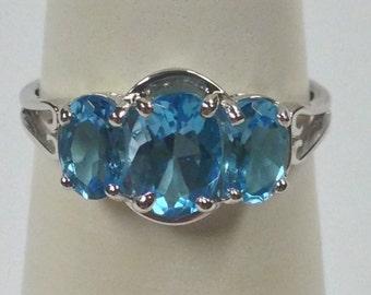 Natural Blue Topaz Cluster Ring 925 Sterling Silver
