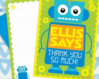 8 X Personalised ROBOT Childrens Mini THANK YOU Note Card Stationary
