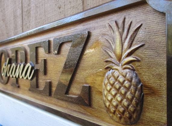 Gifts Hawaiian Pineapple Personalized Family Name Signs Custom Wedding ...
