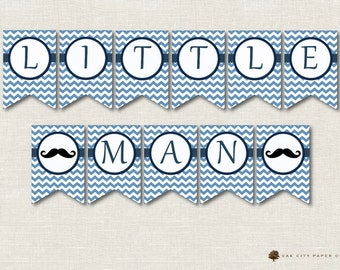 Mustache Baby Shower Decorations, Mustache Shower Banner, Mustache Banner, Little Man Baby Shower Banner, Mustache Bunting, Instant Download