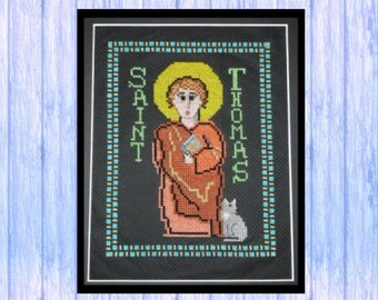 "Hand-crafted Cross Stitch Kit, St Thomas the Apostle, Complete Kit, Finished Size 5.5"" X 7.5"", Original Design"