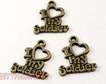 20pcs-- I Love My Soldier Charms, Antique Bronze Soldier charm pendants 20x17mm
