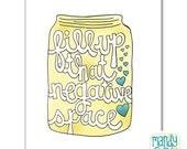 Negative Space Jar Handlettering Illustration Art Print