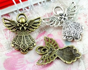 2 - Bronze Angel Charm Pendants