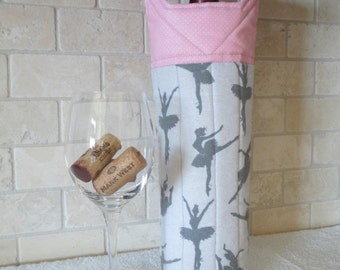 Quilted Silhouette of Ballet Dancers Wine Tote Bag