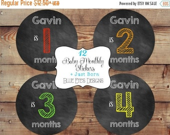 ON SALE Monthly Baby Bodysuit Stickers,Monthly Baby Boy Stickers,Baby Boy Chalkboard Stickers,Baby Age Stickers,Baby Shower Gift,Chalkboard