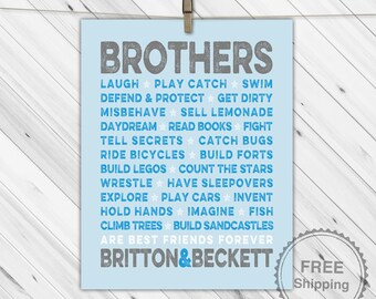 twin brothers room art - twin baby boys nursery decor - blue and gray nursery - brothers subway print - twin baby shower gift