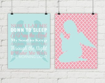 Guardian angel, now I lay me down to sleep, girl nursery religious, baby girls nursery, baptism gift for goddaughter, child's prayer art