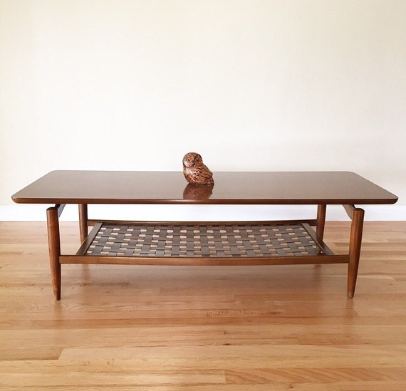 Lane Sliding Door Coffee Table: 1960s Lane Coffee Table With Laminate Top Woven Wood Book