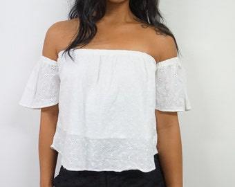 White Eyelet Chikankari Embroidery Work Off Shoulder Top