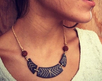 Tribal necklace earth *Natural collection* ceramic necklace MAGICAL TRIBAL bohemian art of goddess classic Made By Maia