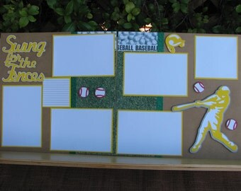 Swing for the Fences 12X12 2 page scrapbook layout