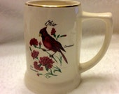Vintage 1930's T & J Pottery Baltimore MD. Ohio Cardinal collectible mug.