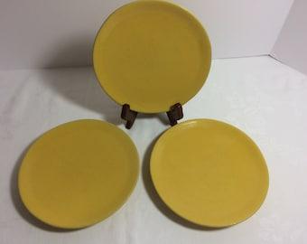 Frankoma Sunflower Salad Plates (3) Mold #: 6G Vintage 1950s